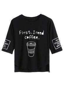 Black Coffee Cup Letters Print Dip Hem T-shirt