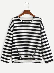 Black White Striped Drop Shoulder High Low Zippers T-shirt