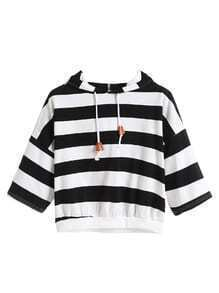 Black White Striped Dropped Shoulder Seam Drawstring Hooded T-shirt