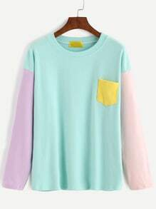 Color Block Dropped Shoulder Seam Patch Pocket T-shirt