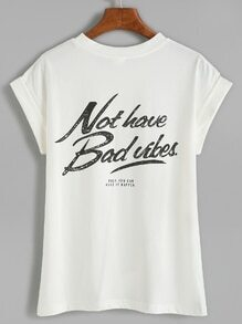 White Letter Print Cuffed T-shirt With Pocket