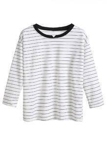 White Striped Contrast Collar Dropped Shoulder Seam T-shirt