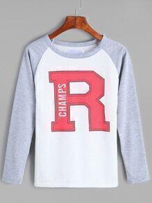 Color Block Letter Print Raglan Sleeve T-shirt