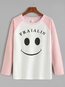 Color Block Smile Print Raglan Sleeve T-shirt