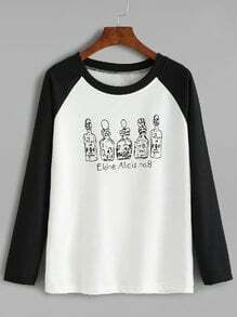 Black And White Contrast Bottles Print Raglan Sleeve T-shirt