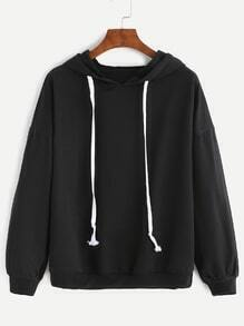 Black Dropped Shoulder Seam Drawstring Hooded Sweatshirt