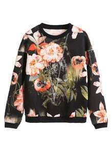 Black Flower Print Drop Shoulder Sweatshirt