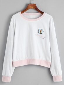 White Contrast Trim Embroidered Sweatshirt