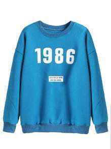 Blue Number Print Drop Shoulder Sweatshirt