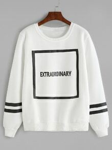 White Letter Print Varsity Striped Sweatshirt
