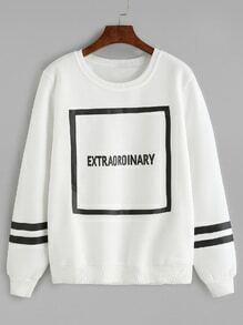 White Letter Print Varsity Striped Sweatshirt