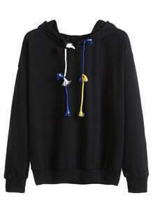 Black Drop Shoulder Colorful Drawstring Hooded Sweatshirt