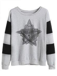 Grey Contrast Sleeve Star Print Drop Shoulder Sweatshirt