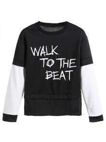 Black Contrast Sleeve Letters Print 2 In 1 Sweatshirt