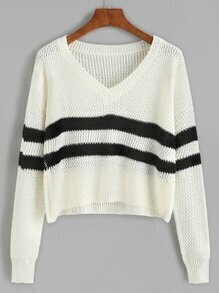 White Striped V Neck Crop Sweater