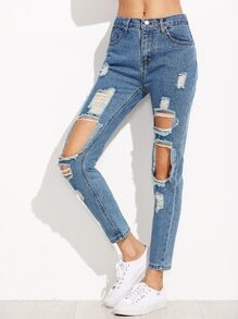 Blue Distressed Knees Ankle Jeans