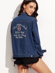 Blue Embroidered Back Denim Jacket