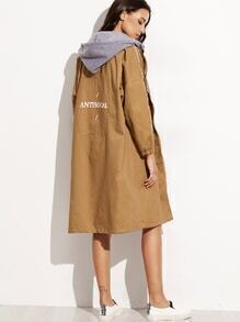 Khaki Letter Print Contrast Removable Hood Trench Coat