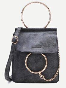 Dark Grey Faux Leather Metal Ring Shoulder Bag