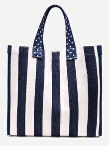 Blue And White Nautical Stripe Canvas Tote Bag