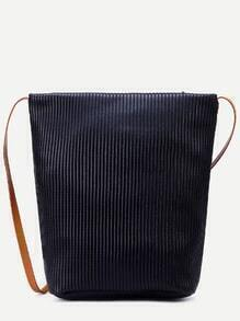 Black Faux Leather Stripe Embossed Shoulder Bag