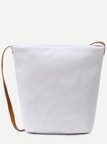 Grey Faux Leather Stripe Embossed Shoulder Bag