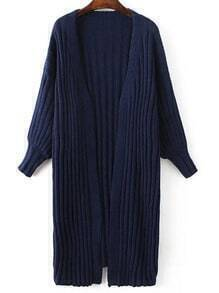 Navy Ribbed Collarless Drop Shoulder Long Sweater Coat