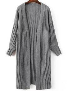 Grey Ribbed Collarless Drop Shoulder Long Sweater Coat