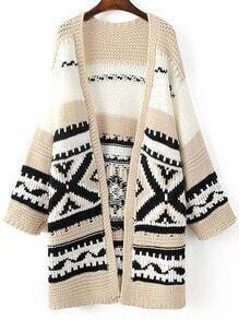 Khaki Tribal Pattern Drop Shoulder Long Sweater Coat