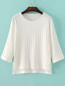 White Drop Shoulder Ribbed Dip Hem Knitwear