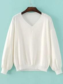 White V Neck Drop Shoulder Ribbed Trim Knitwear