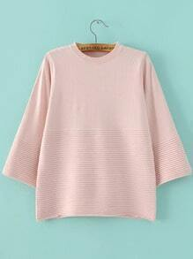 Pink Crew Neck Loose Textured Knitwear