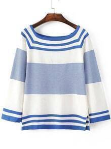 Blue Striped Raglan Sleeve Side Slit Knitwear
