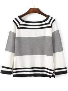 Black Striped Raglan Sleeve Side Slit Knitwear