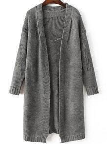 Grey Collarless Open Front Sweater Coat