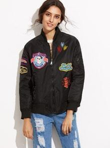 Black Embroidered Patch Bomber Jacket