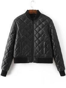 Black Diamond Pattern Quilted Padded Zipper Jacket