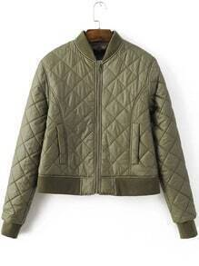 Army Green Diamond Pattern Quilted Padded Zipper Jacket