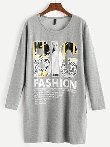 Grey Letter Print Long Sleeve Pocket Sweatshirt Dress