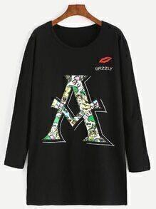 Black Letter Embroidery Long Sleeve Pocket Sweatshirt Dress