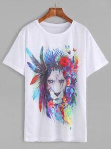 White Printed Round Neck Short Sleeve T-shirt