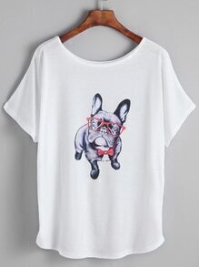 White Cartoon Print Dolman Sleeve T-shirt