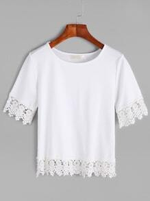 White Round Neck Lace Trim T-shirt