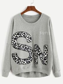 Grey Letter Print Drop Shoulder Dip Hem Sweatshirt