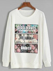 White Embroidered Long Sleeve Sweatshirt
