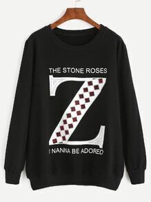 Black Rhinestone letter Long Sleeve Sweatshirt