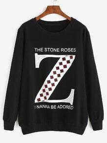 Black Rhinestone letter Long Sleeve Sweatshirt