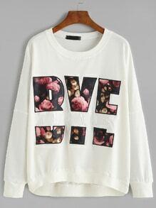 White Letter Embroidered Drop Shoulder Sweatshirt