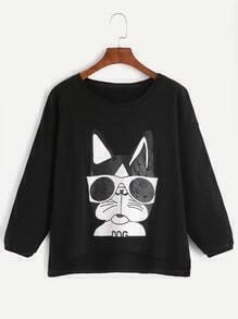 Black Dog Print Drop Shoulder High Low Sweatshirt