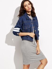 Blue Letter Print Striped Trim Denim Jacket